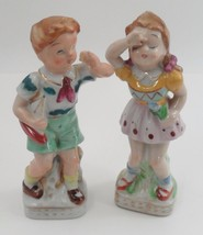 1940s UCG Ucagco Little Boy & Girl Brother Sister Figurines Toy Sailboat Boat - $26.68