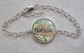 France Choose French City Antique Map 925 Sterling Silver Bracelet - $50.00