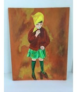 Vintage Original Acrylic Painting Girl In Bonnet with Flower Blanche Lan... - $69.29