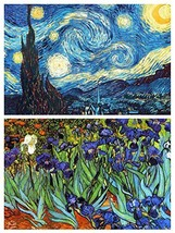 Buttonsmith Vincent Van Gogh Starry Night and Irises Rectangular Magnet ... - $14.39