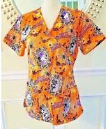 Nurse Scrub Top Disney Mickey Minnie Mouse Halloween Orange Size S Spide... - $14.84