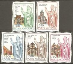 1991 Pope John Paul II Set of 5 Vatican Postage Stamps Catalog Number 890-94 MNH