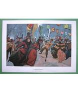 "WINTER FUN at Ice Skating Rink Evening - COLOR Victorian Era Print 14.5""... - $18.90"
