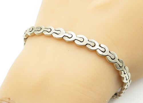 MEXICO 925 Silver - Vintage Smooth Petite Wrench Link Chain Bracelet - B6240