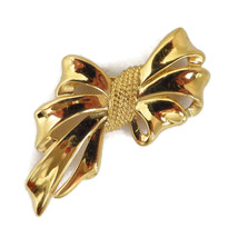 Napier Golden Bow Brooch - Vintage Gathered Bow Pin - $24.00