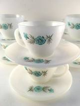 Fire King Bonnie Blue Floral Cups & Saucers Set of 6 Milk Glass Mid-Mode... - $34.20