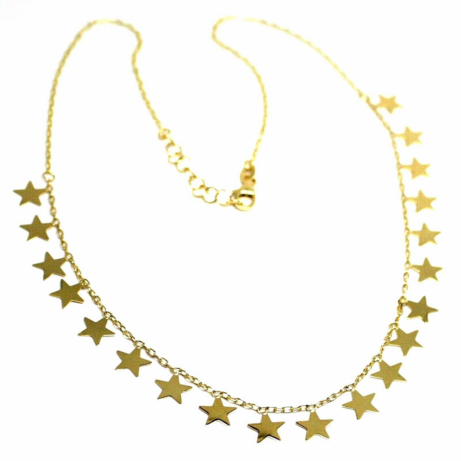 SOLID 18K YELLOW GOLD NECKLACE WITH 8mm FLAT PENDANTS STARS, ROLO OVAL CHAIN 18""