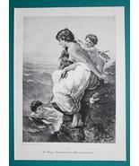 NUDE Italian Mother Teaching Children to Swim - VICTORIAN Era Engraving ... - $21.60