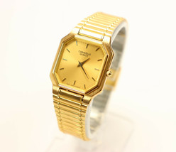 Caravelle Unisex Watch Gold Plated Stainless Steel Made by Bulova Vintage Brand  - $99.95