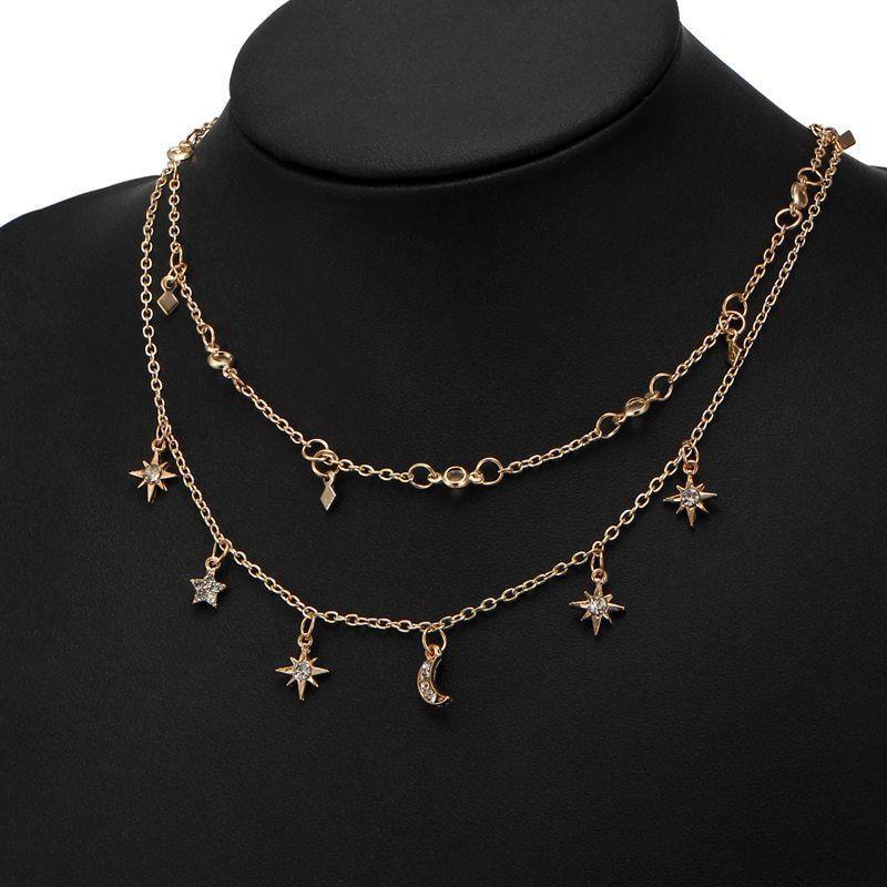 17KM® Boho Star Moon Multi Layer Pendant Necklace For Women Vintage Flower