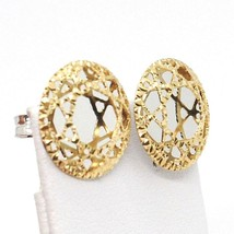 YELLOW GOLD EARRINGS WHITE 750 18K, BUTTON, DISCO, FINELY WORKED image 2
