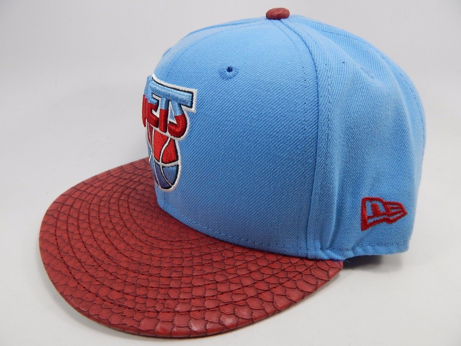 New Jersey Nets New Era Size 7 1/2 Fitted 59Fifty Official NBA Cap Hat Blue Red