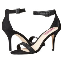 Betsey Johnson Brodway Black Satin Crystal Ankle Strap Heel Pumps 10 NIB - $47.12