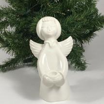 Vintage Christmas ANGEL Candle Holder Dresden Porcelain Figurine - $38.15