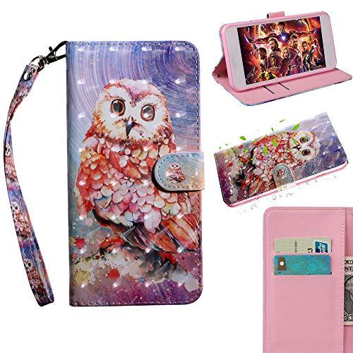 XYX Wallet Case for Motorola Moto G7 Play,[Wrist Strap] Painted Design PU Leathe