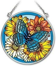 "Blue Butterfly Sun Catcher AMIA 3.5"" Round New Hand Painted Glass Flowers  - €17,10 EUR"