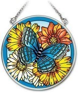 "Blue Butterfly Sun Catcher AMIA 3.5"" Round New Hand Painted Glass Flowers  - $18.80"