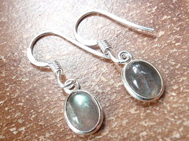 Small Labradorite Oval Ellipse 925 Sterling Silver Dangle Earrings New 760h - $11.87