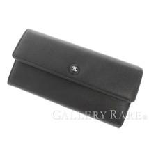 CHANEL Long Wallet Caviar Leather Black A84067 CC Button Spain Authentic - $979.90