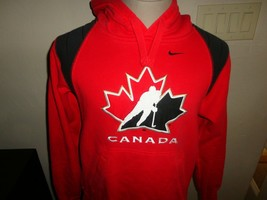 Red CANADA Sewn Hockey Nike  Hooded Hoodie Sweatshirt  Adult S 80-20 - $34.90