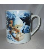 Precious Moments Coffee Cup Mug Girl Sledding Time to Start Living Life ... - $24.24