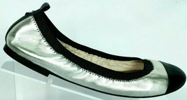 Sam Edelman Women's Black Silver Metallic Slip On Ballet Flat Shoes Size 7 M - $43.35