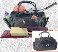 """Large Lined 23"""" Black Leather Tote Sport Bag Duffle GYM with End Saddlebags - $35.99"""