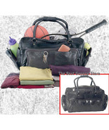 "Large Lined 23"" Black Leather Tote Sport Bag Duffle GYM with End Saddlebags - $35.99"