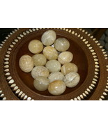 2 Hand Carved & Polished Stalagmitic Alabaster Calcite Eggs Hard Stone E... - $18.99