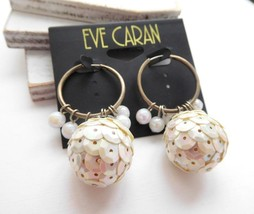 Retro Vintage Eve Caran Silver Tone Hoop White Sequins Bead Dangle Earri... - $12.74