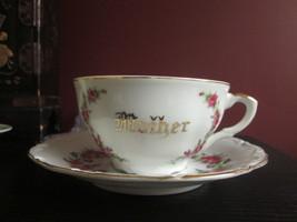 VTG LEFTON JAPAN LG BREAKFAST Tea CUP & SAUCER PINK ROSES 'MOTHER' GILT ... - $14.84