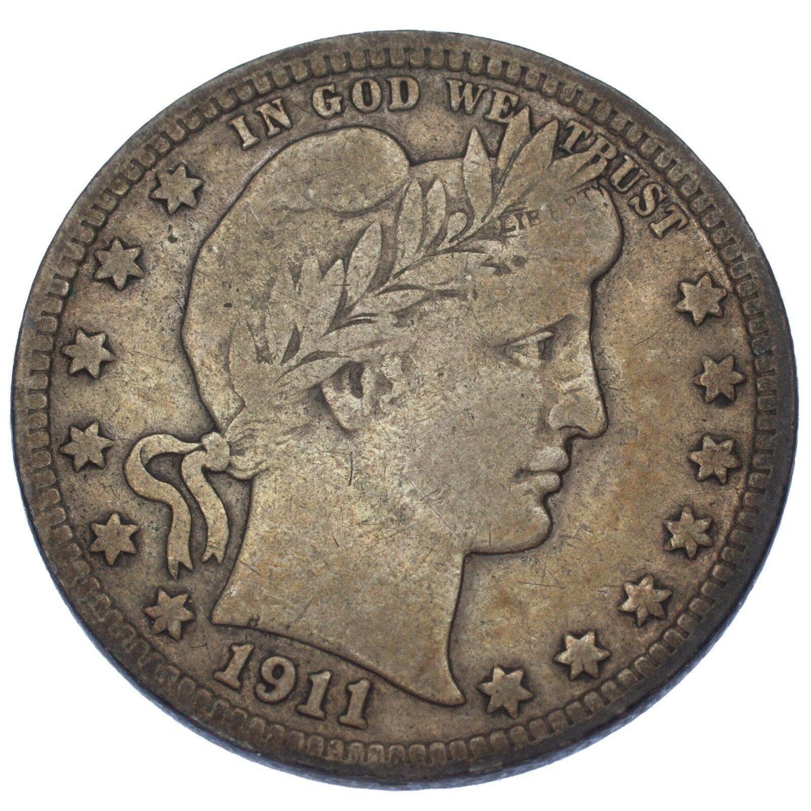 1911-D Barber Quarter Dollar 25C (Fine, F Condition)