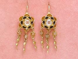 ANTIQUE VICTORIAN ROSE DIAMOND 18K BLACK ENAMEL SMALL DANGLE WIRE EARRIN... - $1,351.35
