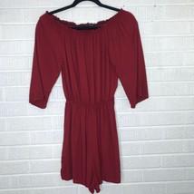 Brandy Melville Red Off the Shoulder Romper 3/4 Sleeve Shorts Viscose It... - $37.23
