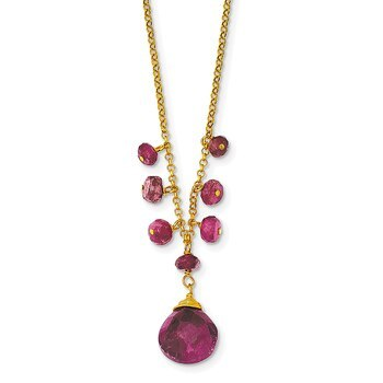 Primary image for Lex & Lu Sterling Silver & Vermeil Ruby Necklace 16""