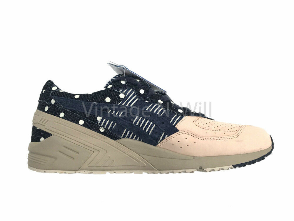Asics Tiger Men 11 Gel Sight Japan Denim/ Leather Dot Stripe Retro Sneaker H7KON