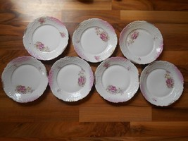 Old Vintage or Antique Set Lot 7 China Plates Flowers Floral around 7 3/... - $69.99