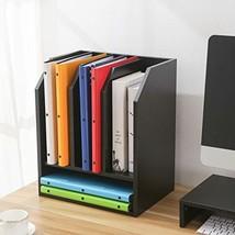 TAVR Black Wood Desktop Organizer Stand with 4 Storage File Mail Sorter ... - $41.85