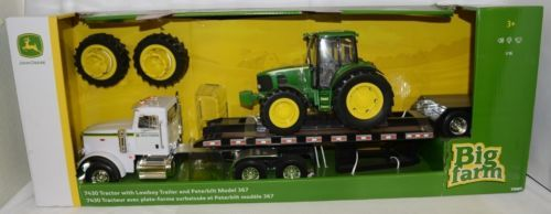 John Deere LP66952 Big Farm 7430 Tractor Lowboy Trailer Peterbilt Model 367