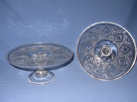 2 Vtg Pressed Glass Grand Diamond Medallion Clear Cake Plate Pedestal Fo... - $19.79