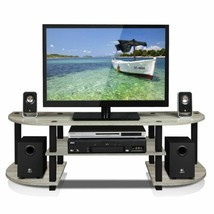 Black Gray Oak TV Stand Entertainment Center Media Audio Storage Shelves... - $51.38