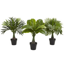 Areca Fountain and Banana Palms (Set of 3) Artificial Potted Plants Tree... - $44.87