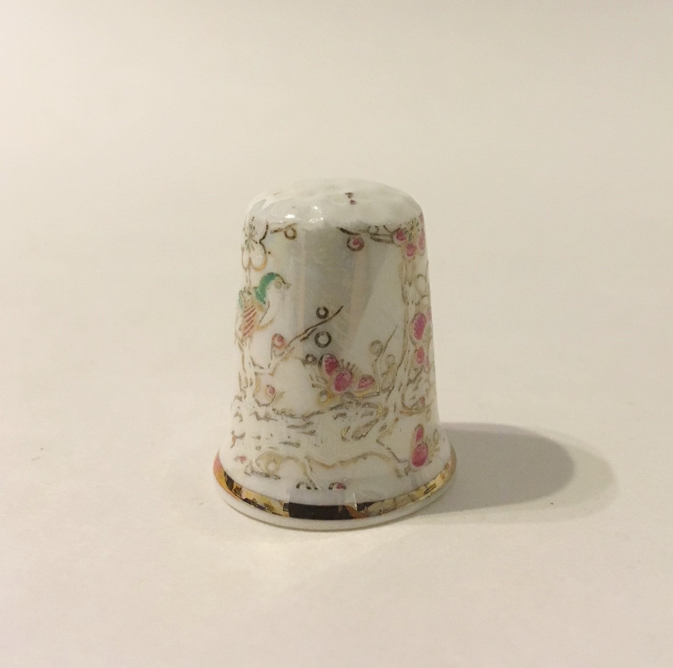 Garden Thimble Bird Floral Vintage Fine Bone China England Pink Green White Gold