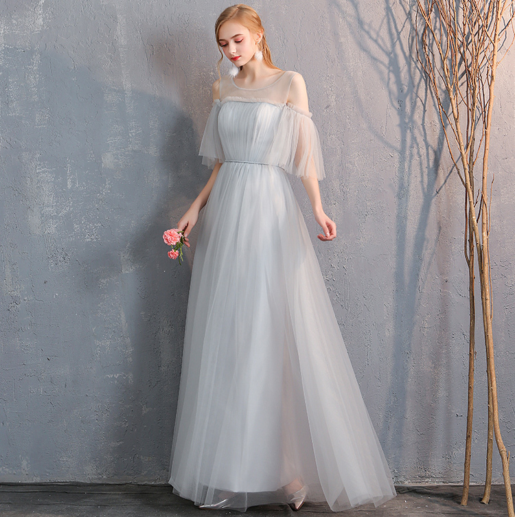 Bridesmaid tulle dress light gray 4