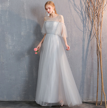 Light Gray Burgundy Blush Pink Blue Bridesmaid Dress Tulle Wedding Dress Sleeves image 5