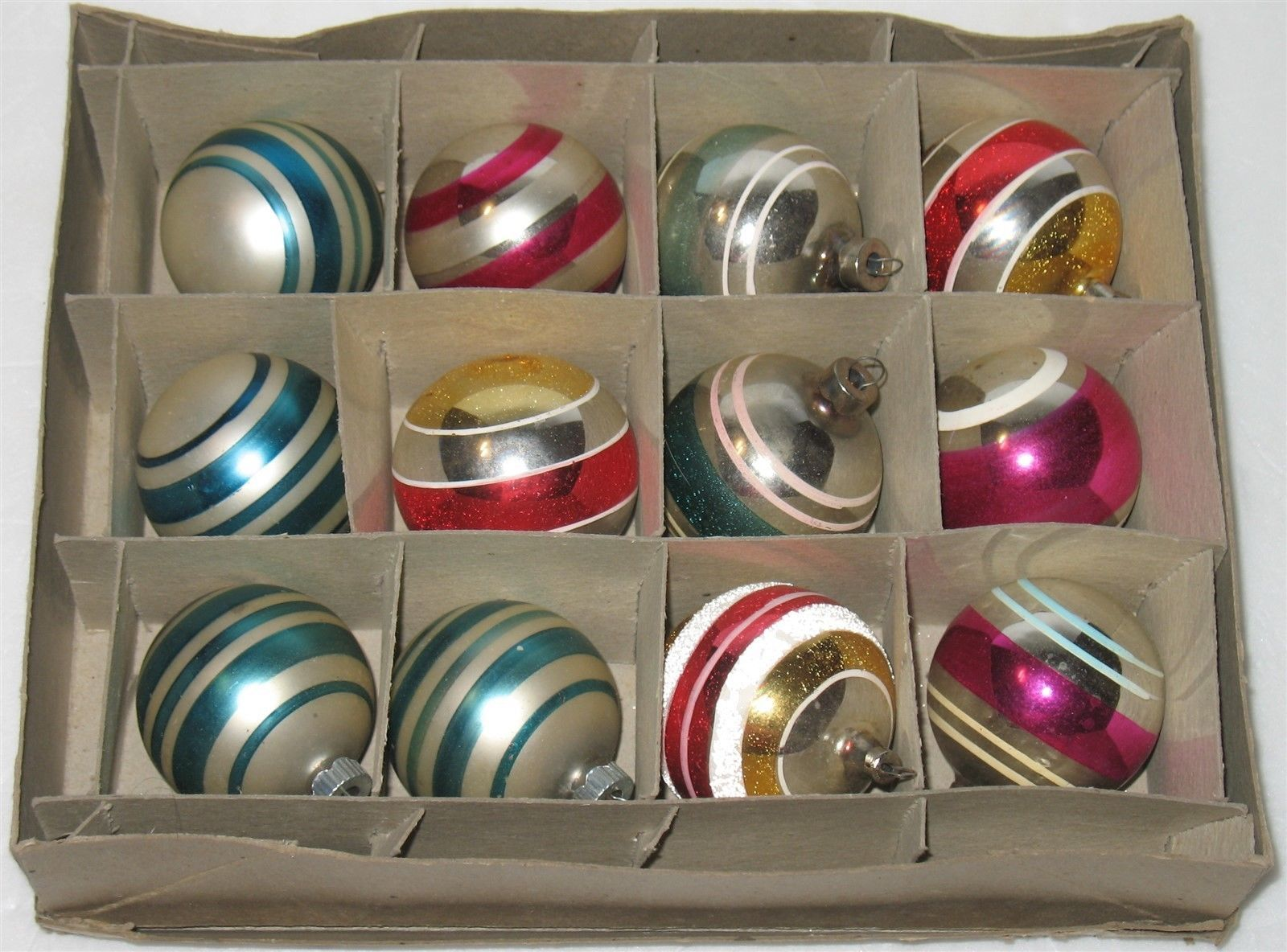 "Primary image for 12 Vtg Asst Colors Striped 2.25"" Round Mercury Glass Christmas Ball Ornaments"
