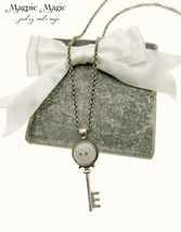Key Drop Necklace: silver key focal, vintage dome button, silver chain  - $11.50