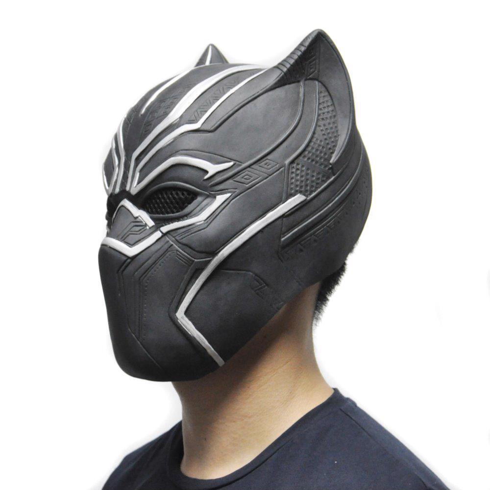 Halloween Black Panther Mask Mens Cosplay Latex Toy Party Full Face Cool Decor