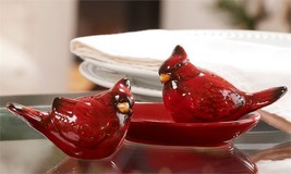 Cardinal Bird Design Salt & Pepper Shakers Set with Oval Tray Red Ceramic
