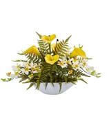 """24"""" Calla Lilly, Dendrobium Orchid and Fern Artificial Arrangement in Wh... - $182.99"""